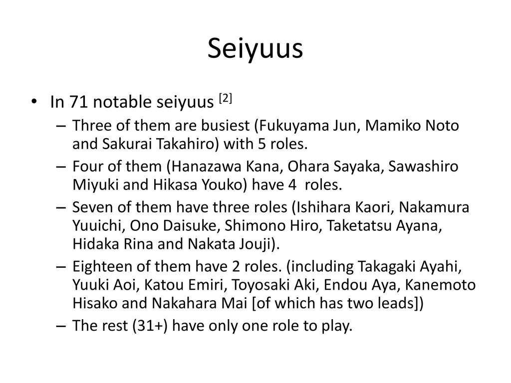Seiyuus • In 71 notable seiyuus [2] – Three of ...