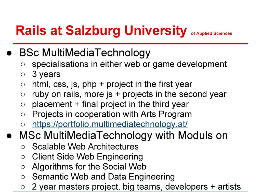 Rails at Salzburg University of Applied Science...