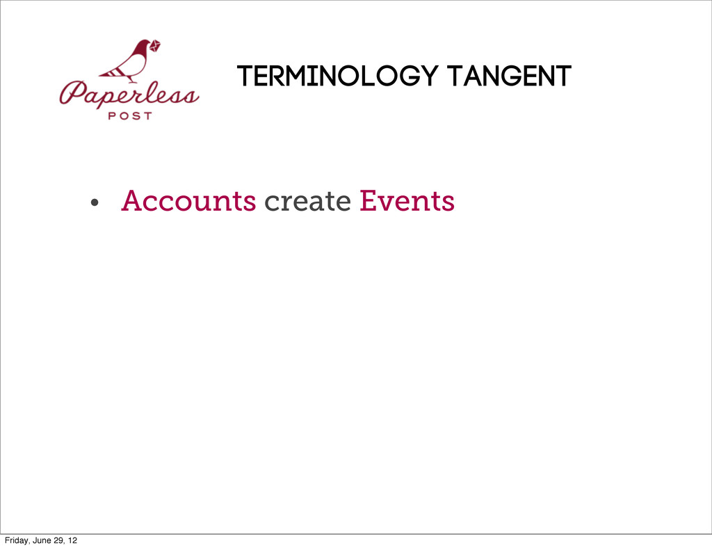 • Accounts create Events Terminology TANGENT Fr...