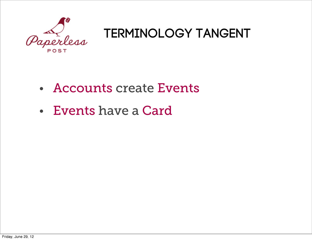• Accounts create Events • Events have a Card T...