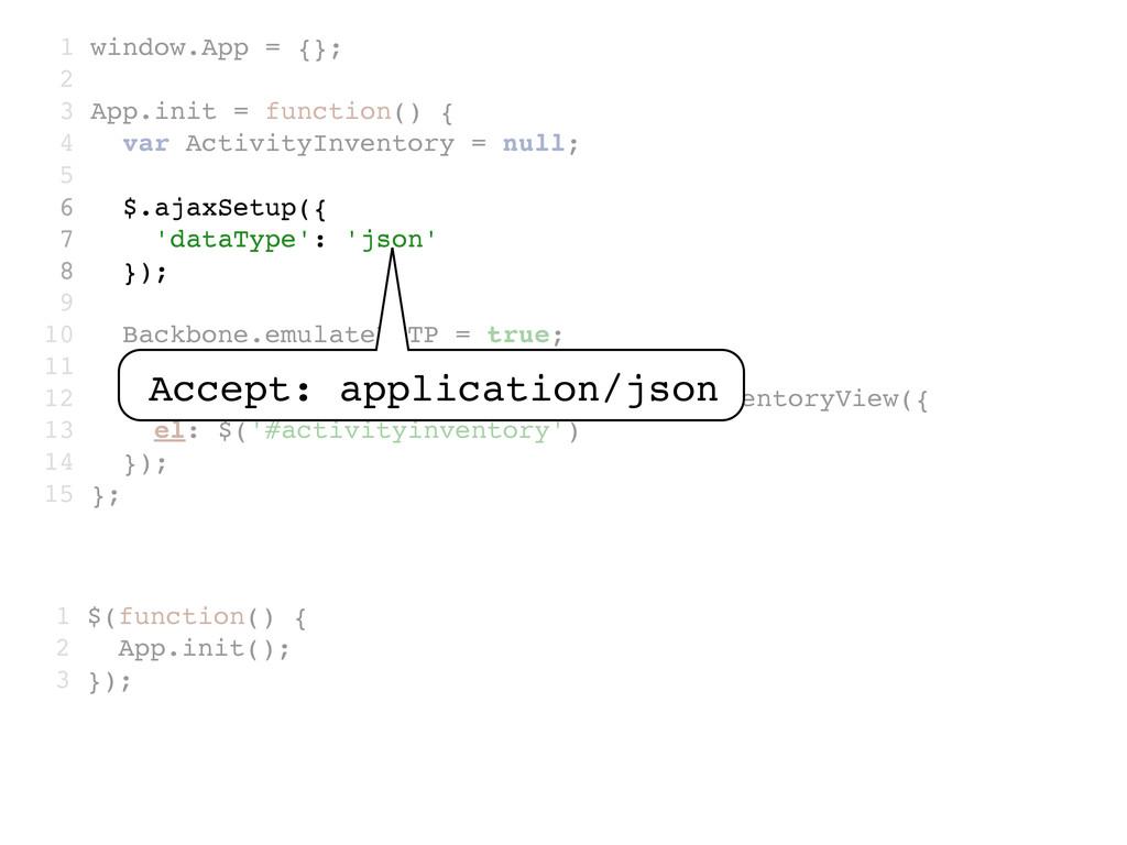 1 window.App = {}; 2 3 App.init = function() { ...