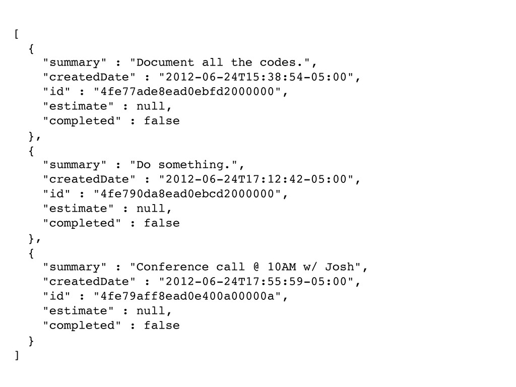 """[ { """"summary"""" : """"Document all the codes."""", """"cre..."""