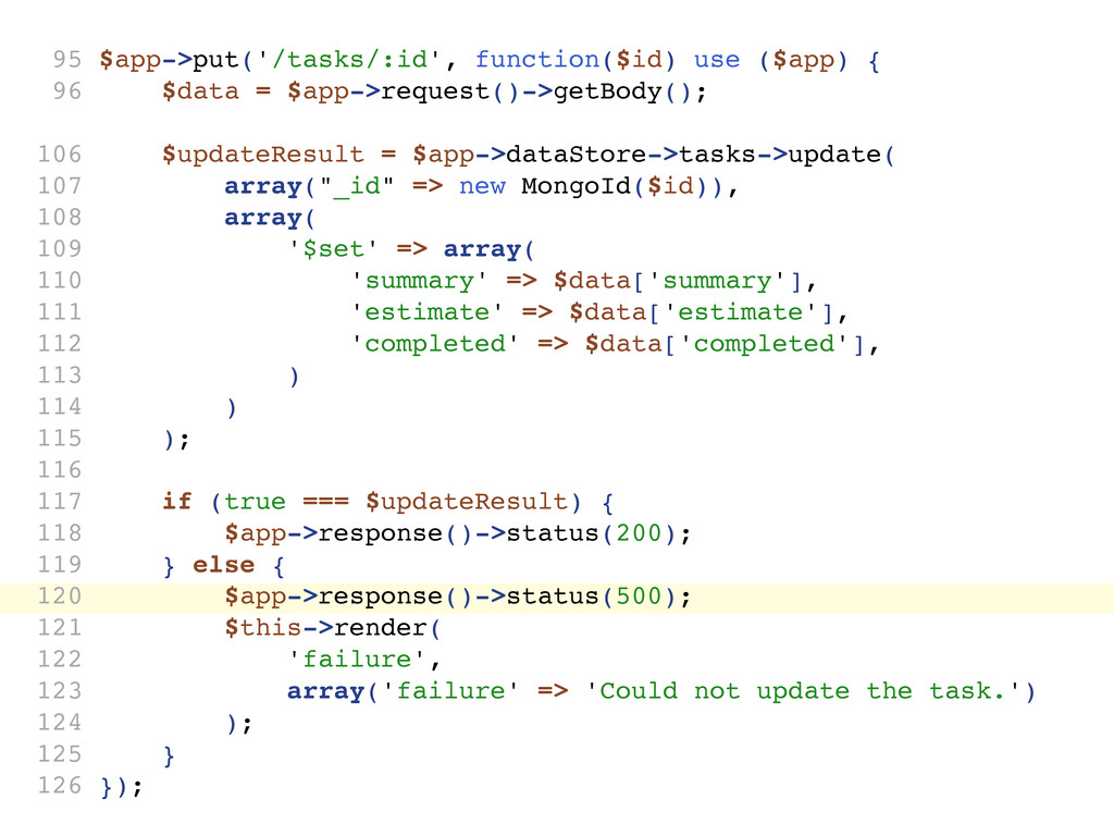 95 $app->put('/tasks/:id', function($id) use ($...