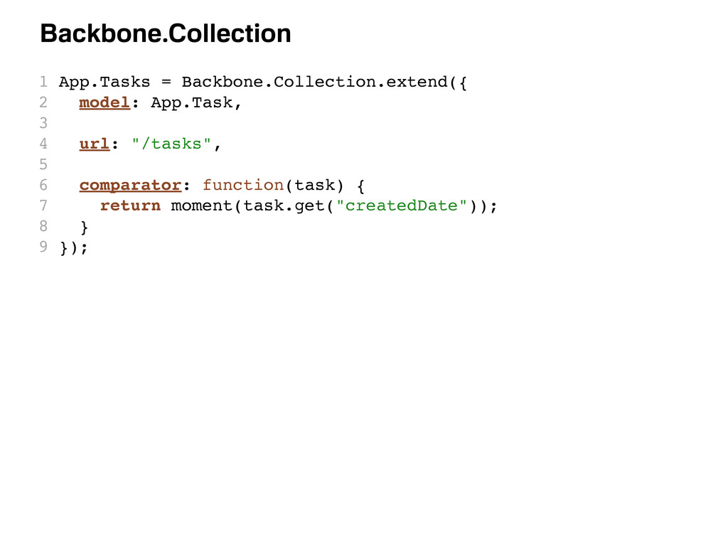 Backbone.Collection 1 App.Tasks = Backbone.Coll...