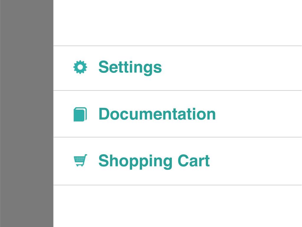 Settings Documentation Shopping Cart