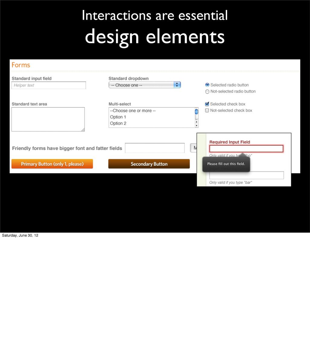 Interactions are essential design elements Satu...