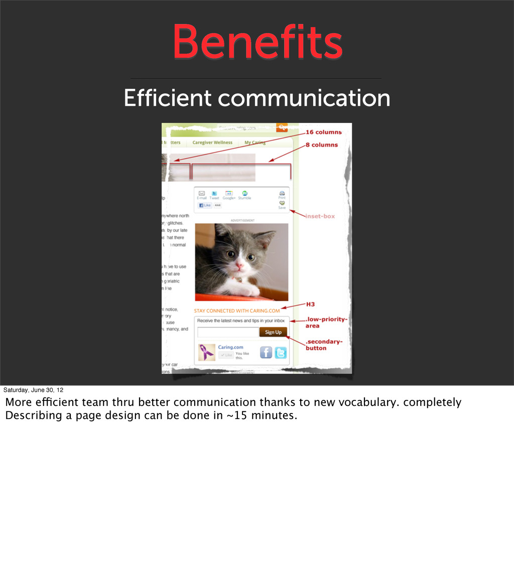 Benefits Efficient communication Saturday, June...