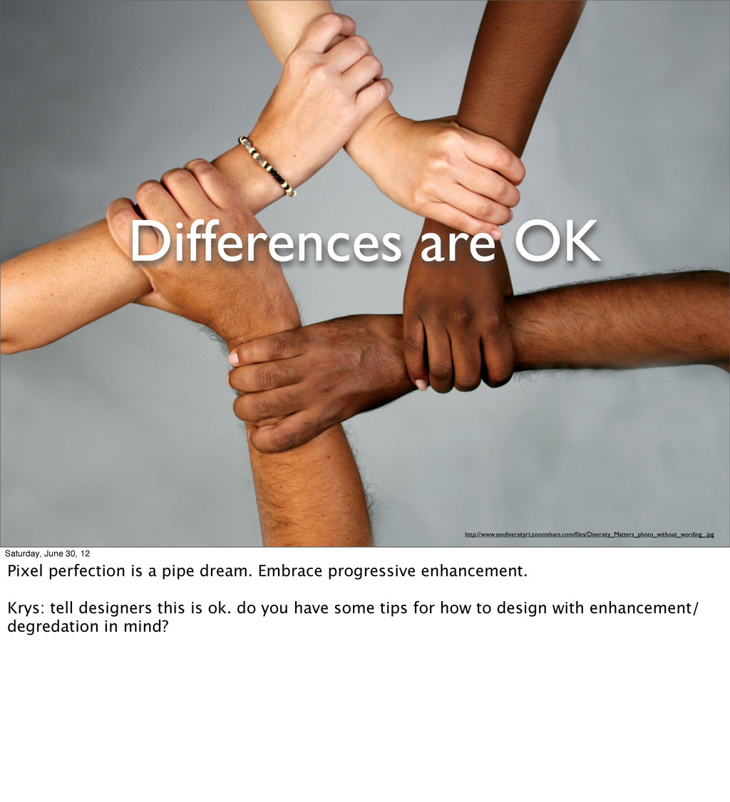 Differences are OK http://www.snvdiversityrt.zo...