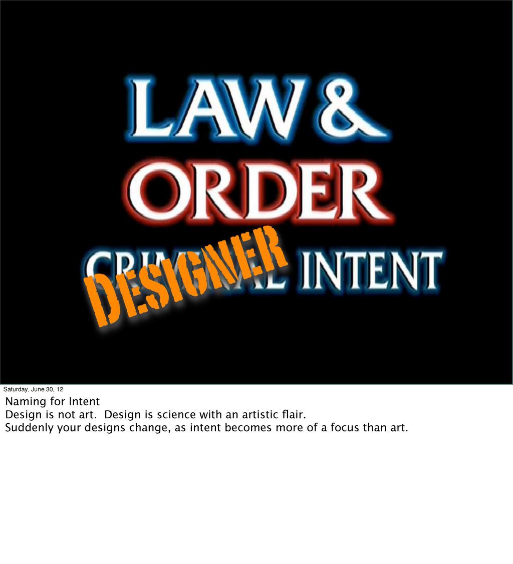 Designer Saturday, June 30, 12 Naming for Inten...