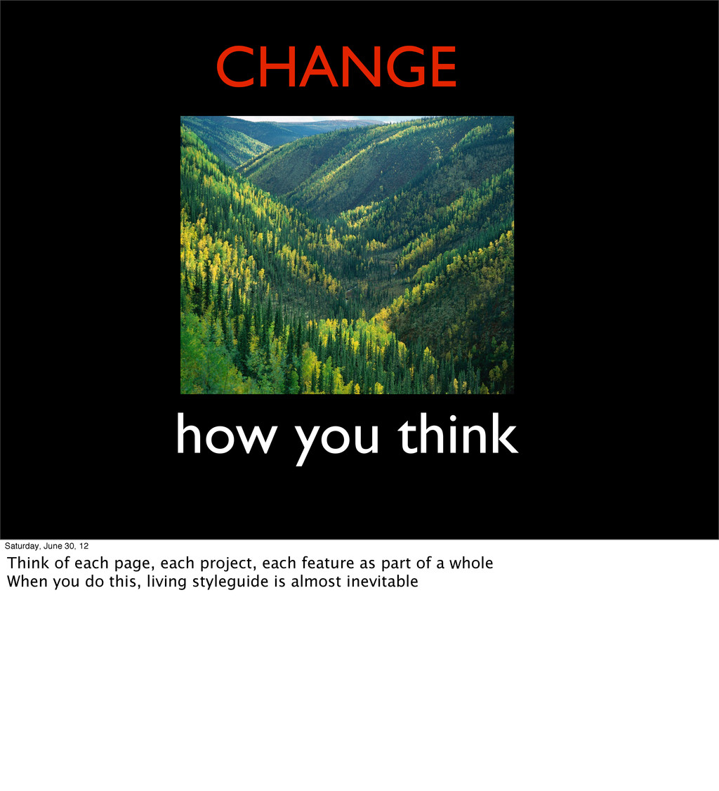 CHANGE how you think Saturday, June 30, 12 Thin...