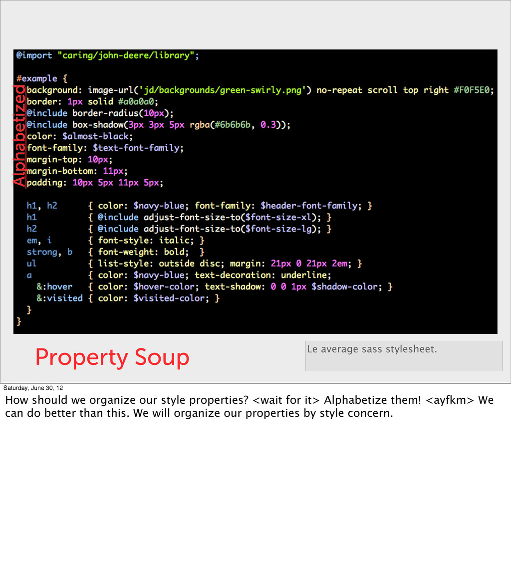 Property Soup Le average sass stylesheet. Alpha...