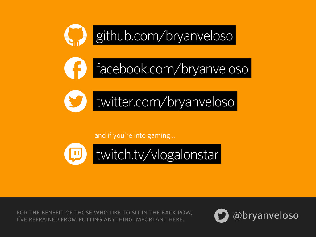 @bryanveloso for the benefit of those who like ...