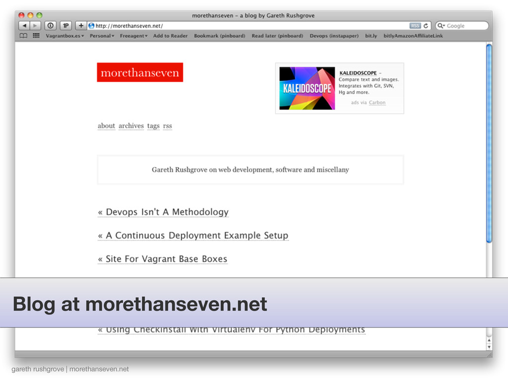 Blog at morethanseven.net gareth rushgrove | mo...