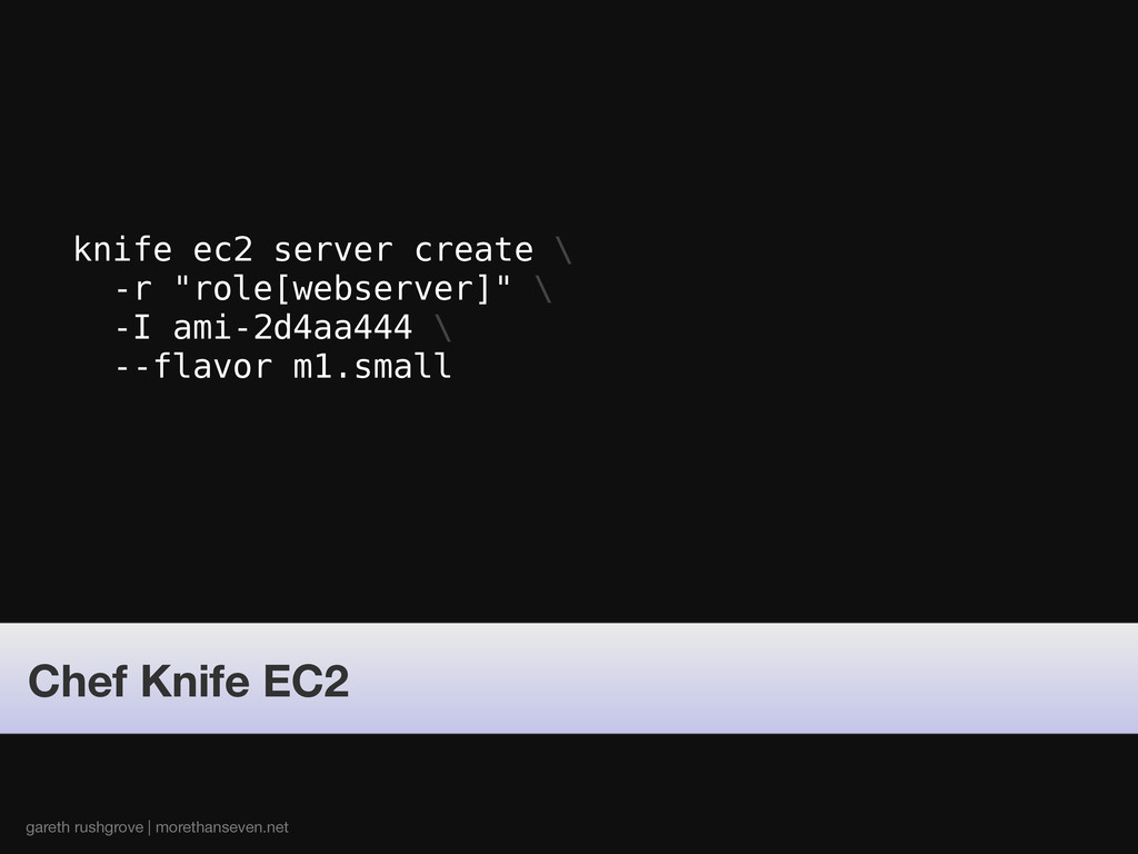 "knife ec2 server create \ -r ""role[webserver]"" ..."
