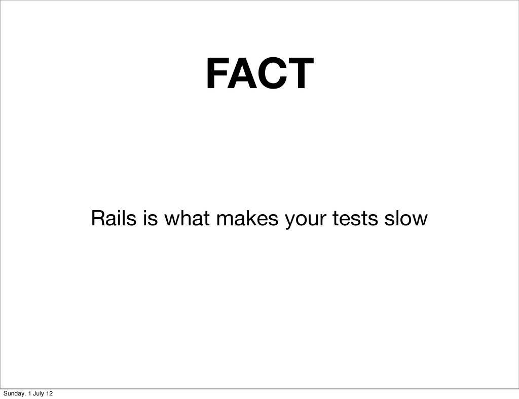 FACT Rails is what makes your tests slow Sunday...