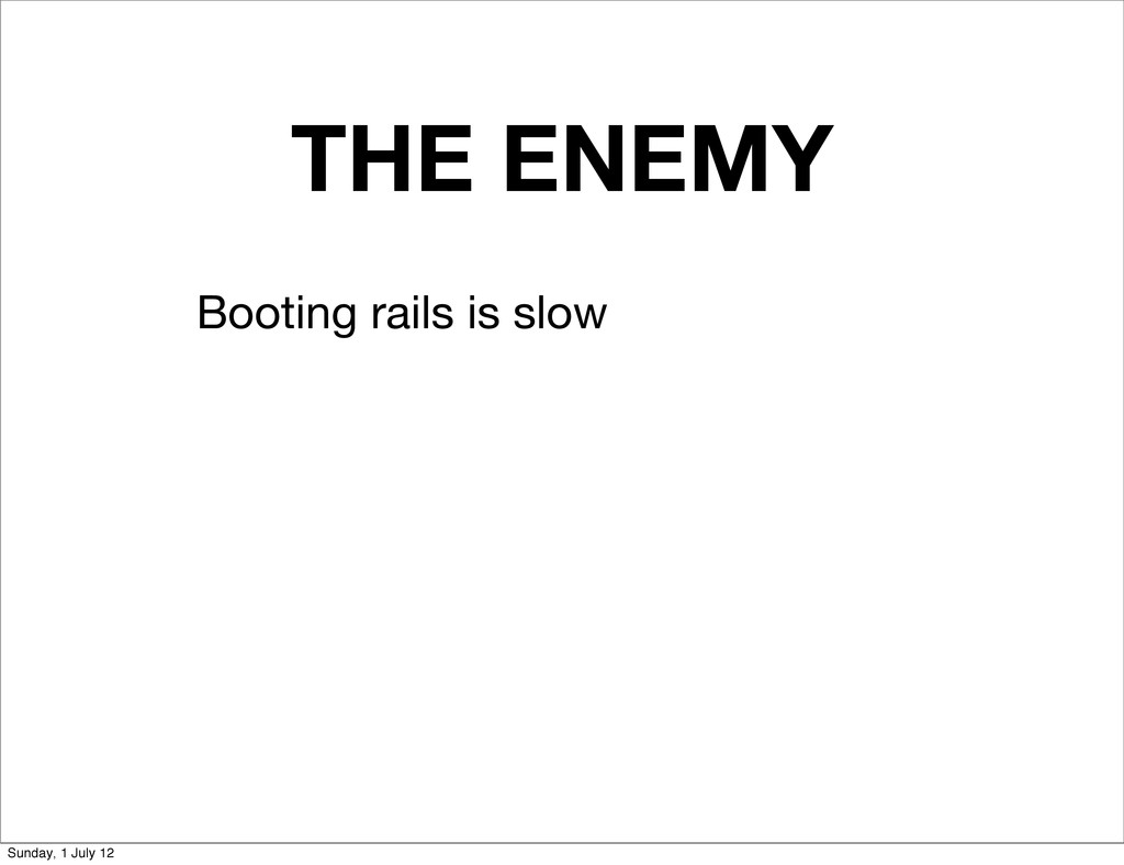 THE ENEMY Booting rails is slow Sunday, 1 July ...