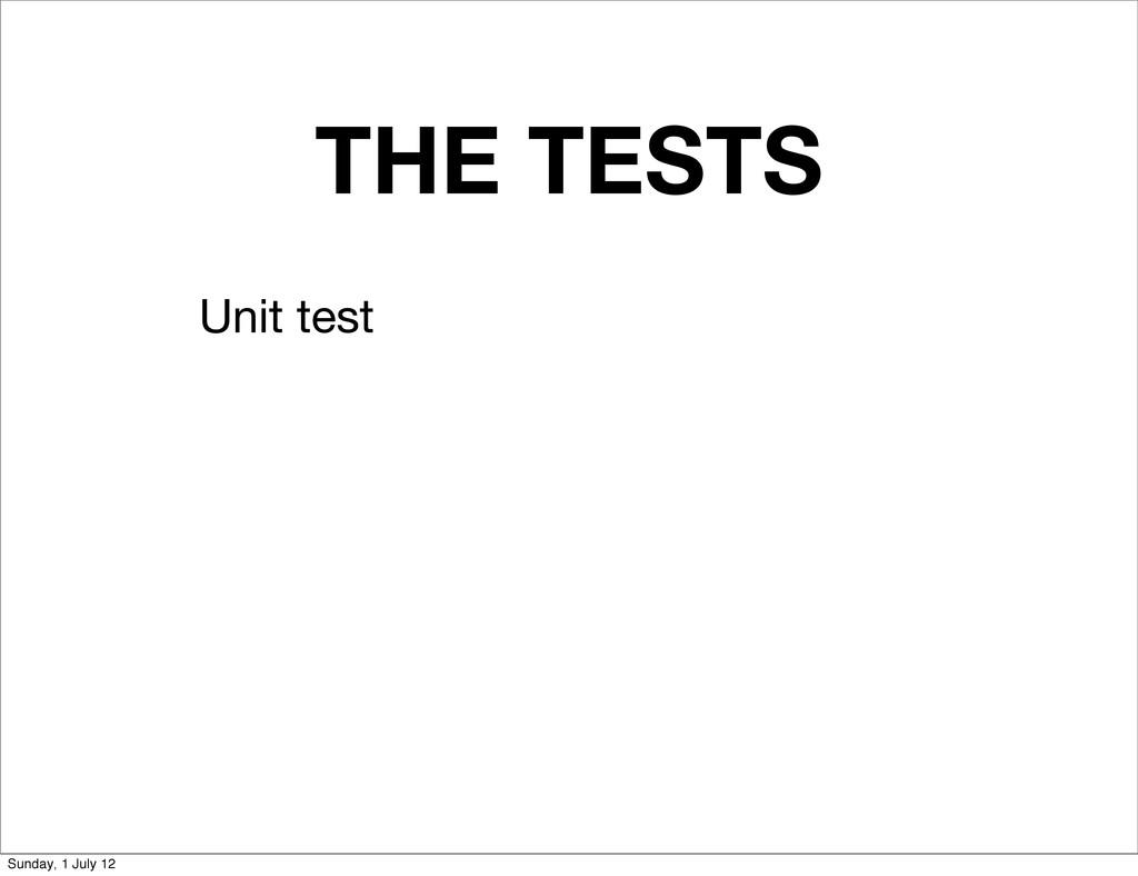 THE TESTS Unit test Sunday, 1 July 12