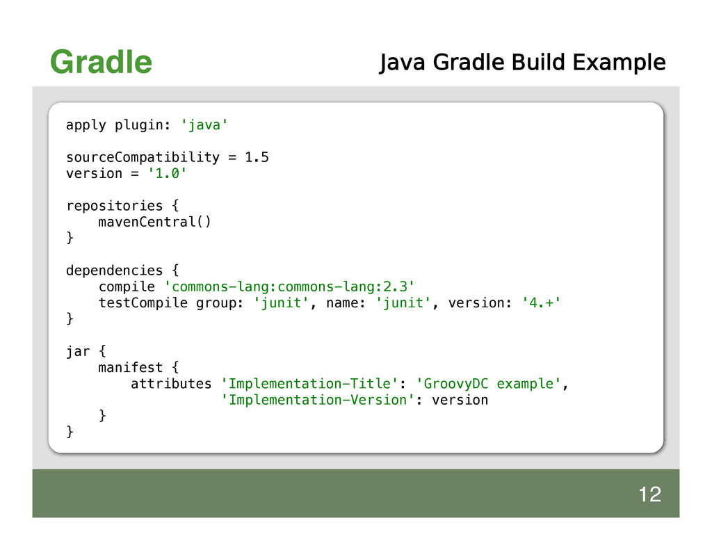 Gradle apply plugin: 'java' sourceCompatibility...