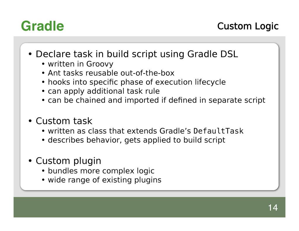 Gradle Custom Logic • Declare task in build scr...
