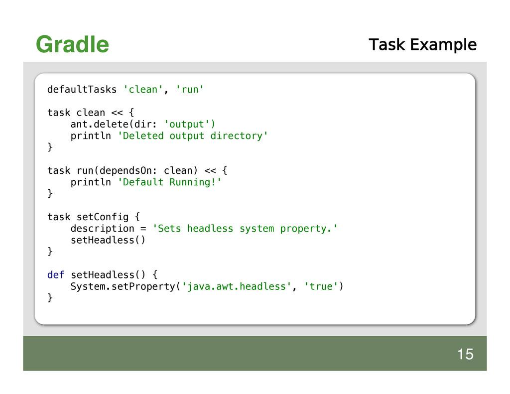 Gradle Task Example defaultTasks 'clean', 'run'...