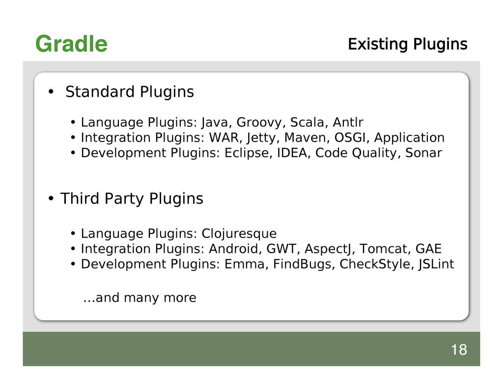 Gradle Existing Plugins • Standard Plugins • La...