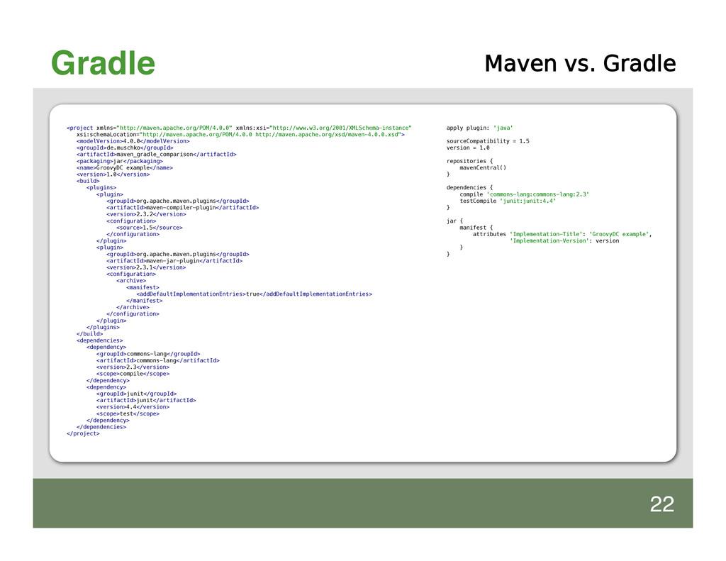 """Gradle Maven vs. Gradle <project xmlns=""""http://..."""