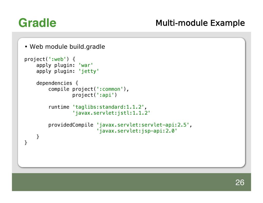 Gradle Multi-module Example • Web module build....
