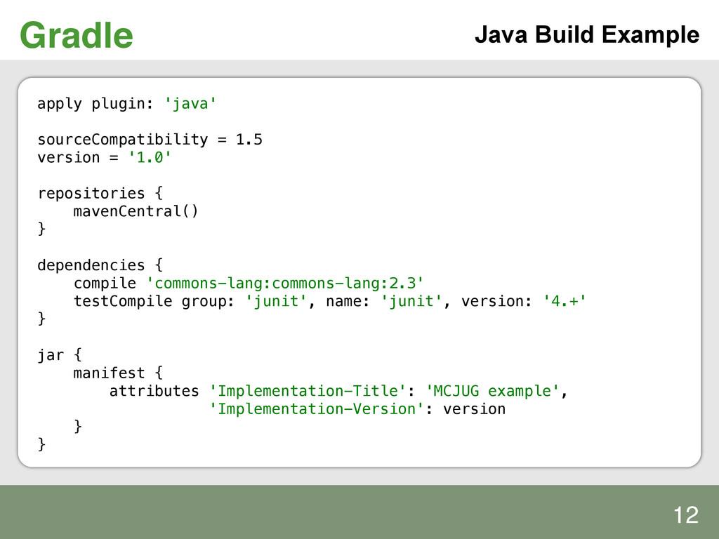 Gradle! apply plugin: 'java'! ! sourceCompatibi...