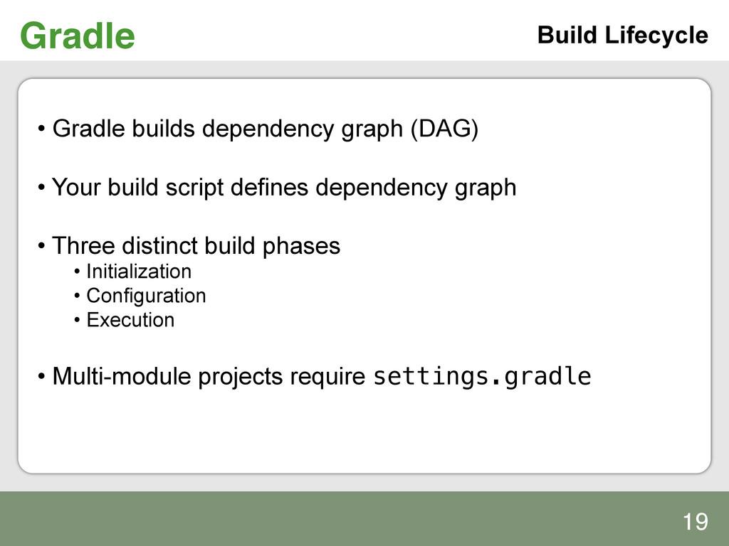 Gradle! Build Lifecycle • Gradle builds depend...