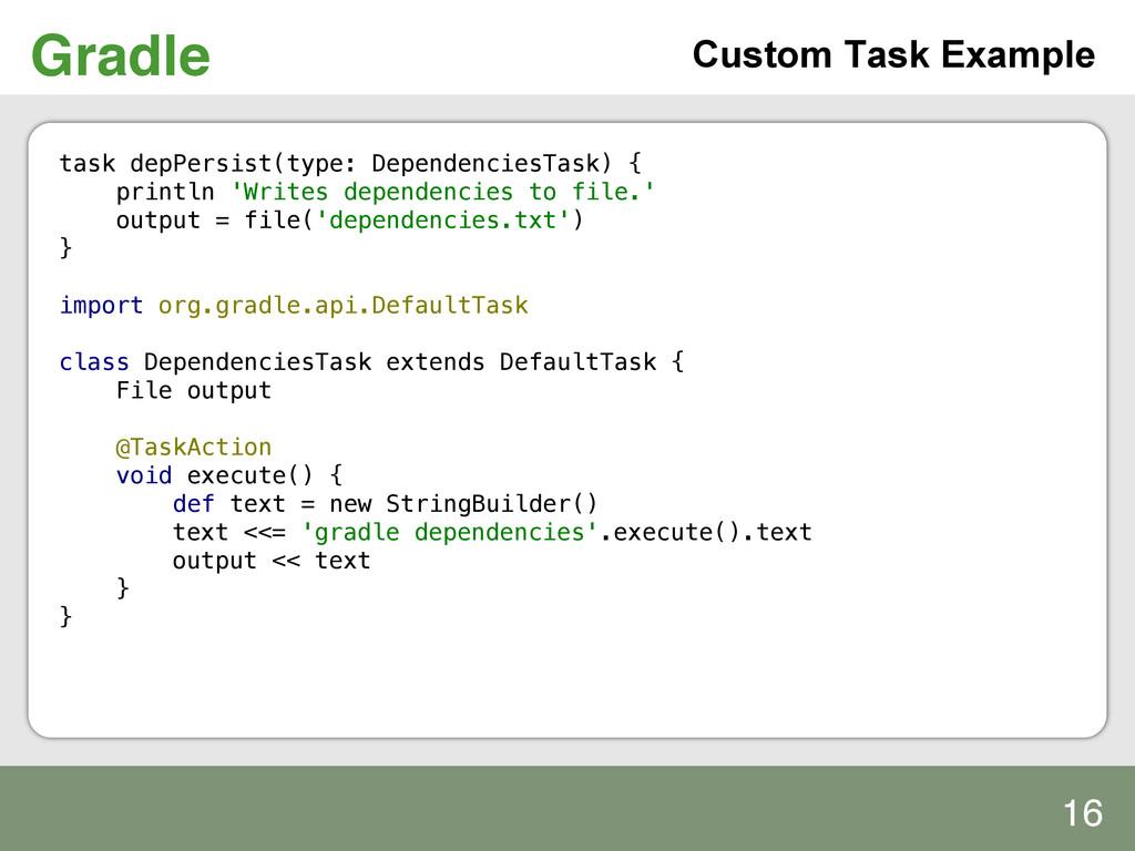 Gradle! Custom Task Example task depPersist(typ...