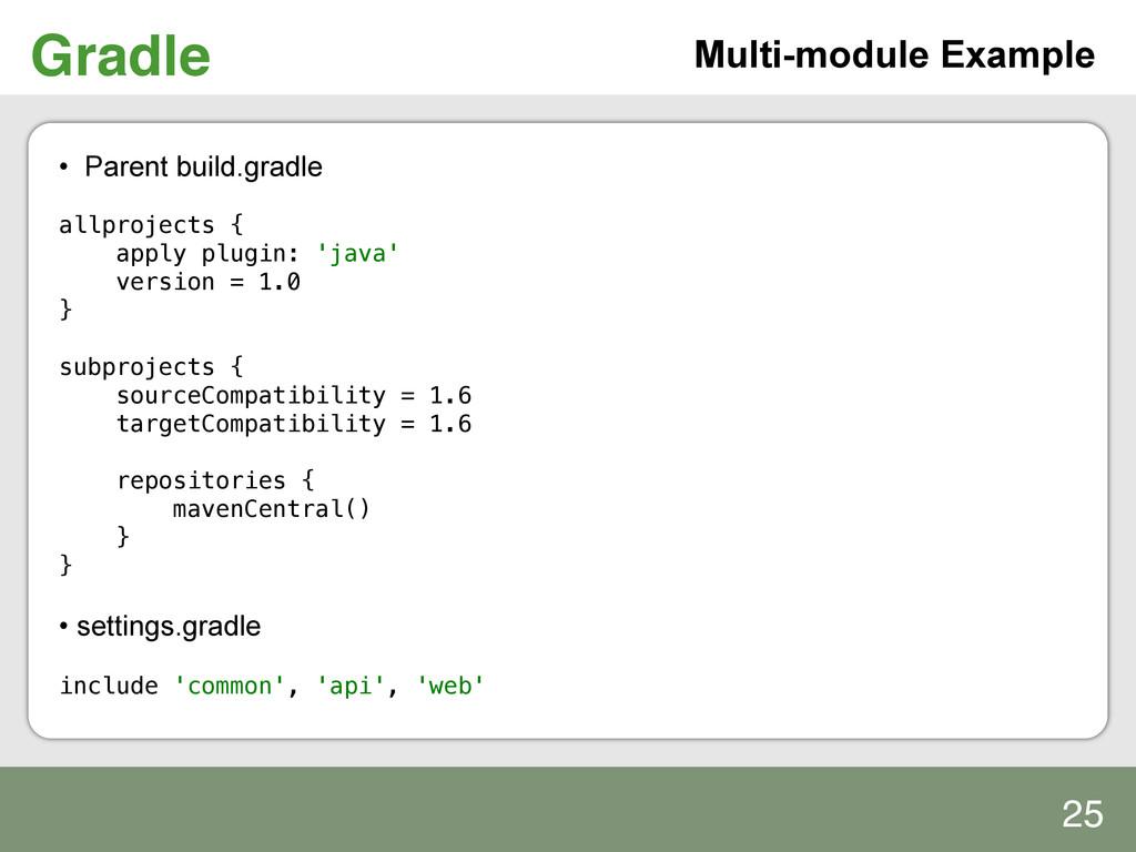 Gradle! Multi-module Example • Parent build.gr...
