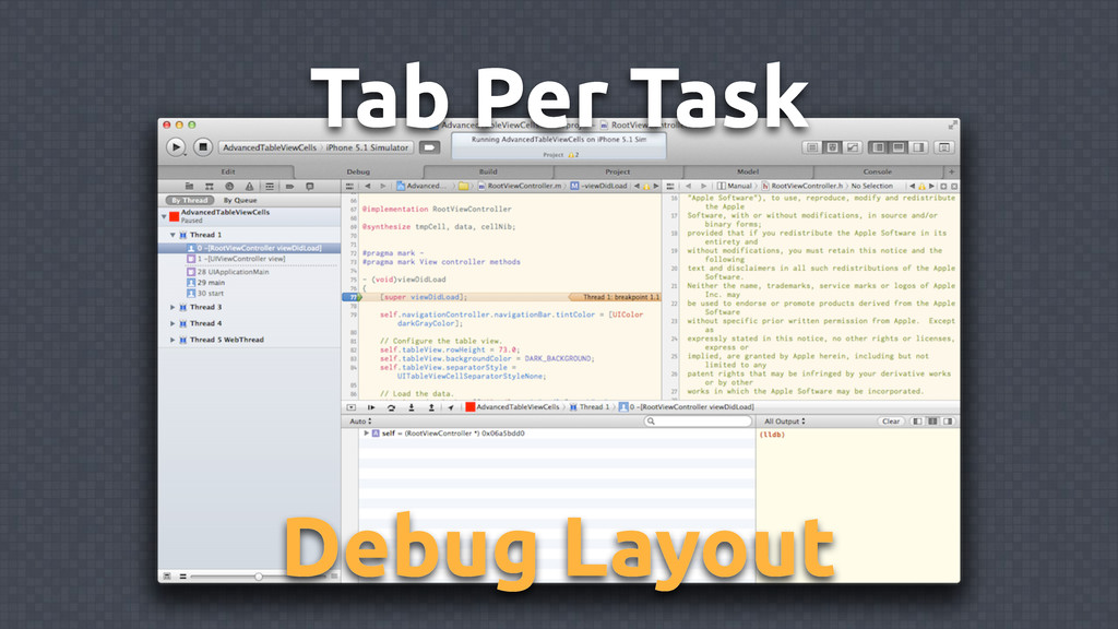 Tab Per Task Debug Layout