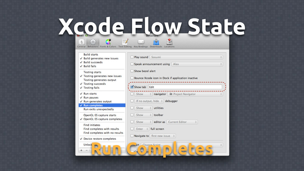 Xcode Flow State Run Completes