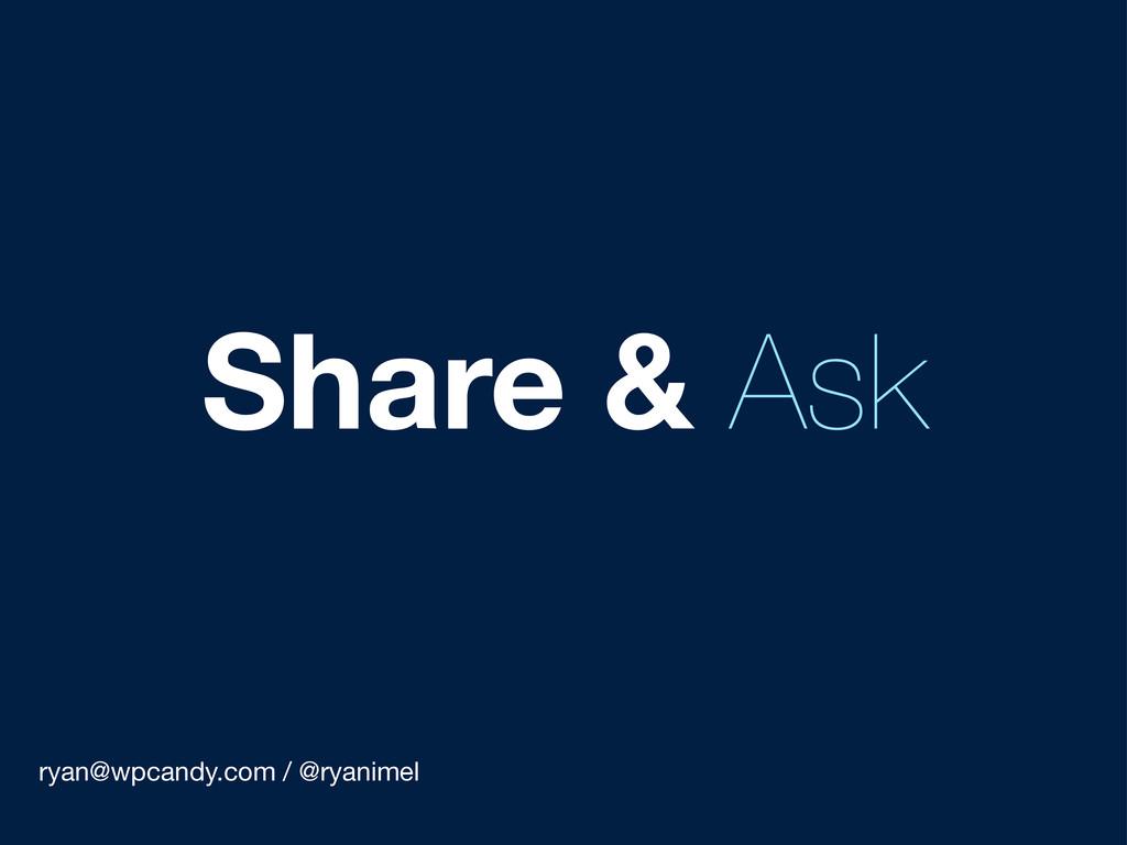 ryan@wpcandy.com / @ryanimel Share & Ask