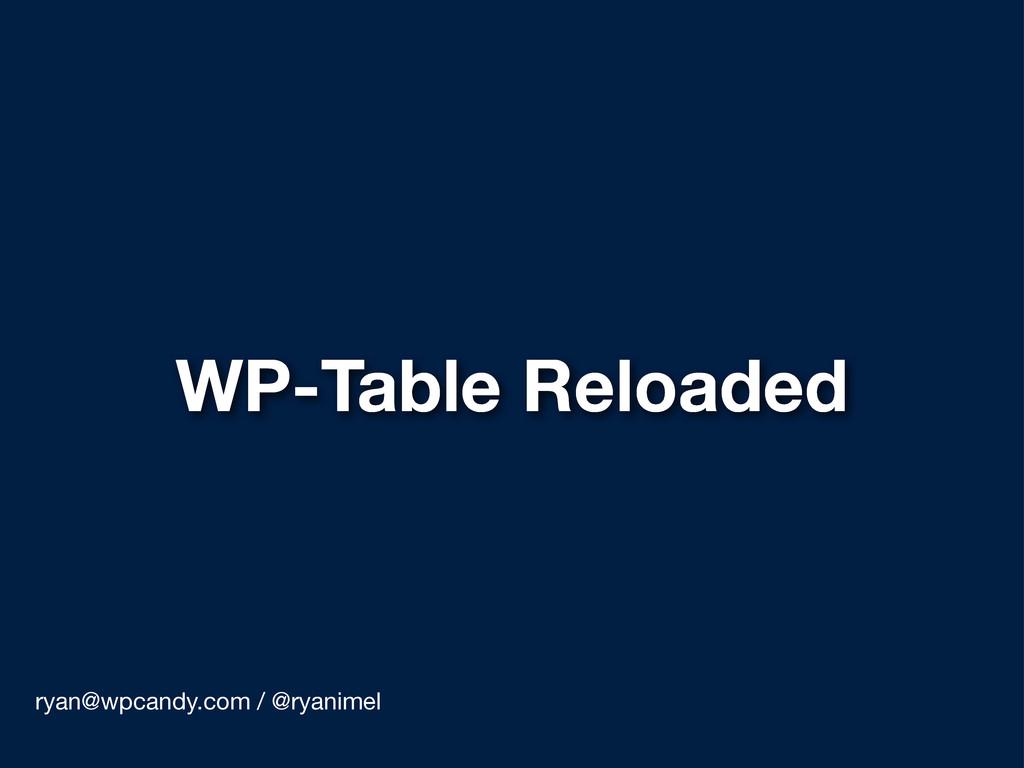 WP-Table Reloaded ryan@wpcandy.com / @ryanimel