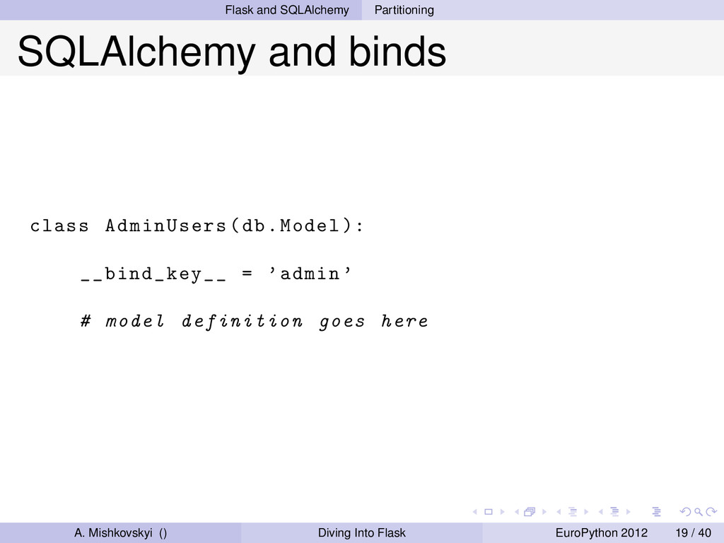 Flask and SQLAlchemy Partitioning SQLAlchemy an...