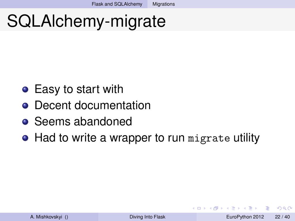 Flask and SQLAlchemy Migrations SQLAlchemy-migr...