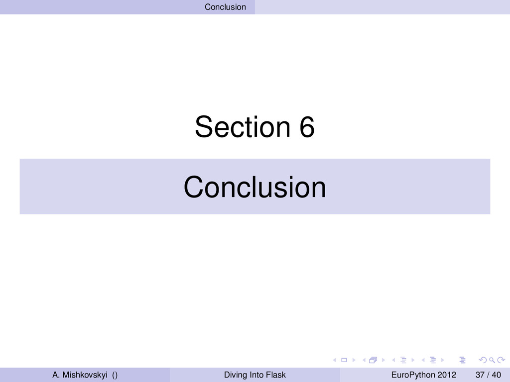 Conclusion Section 6 Conclusion A. Mishkovskyi ...