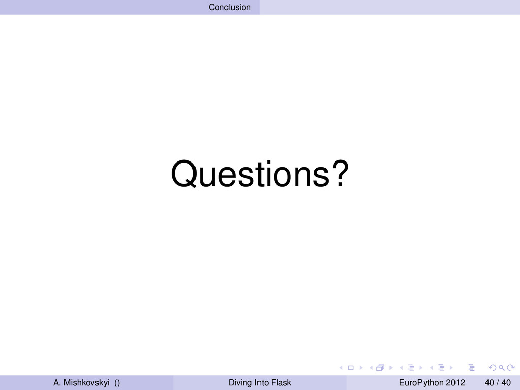 Conclusion Questions? A. Mishkovskyi () Diving ...