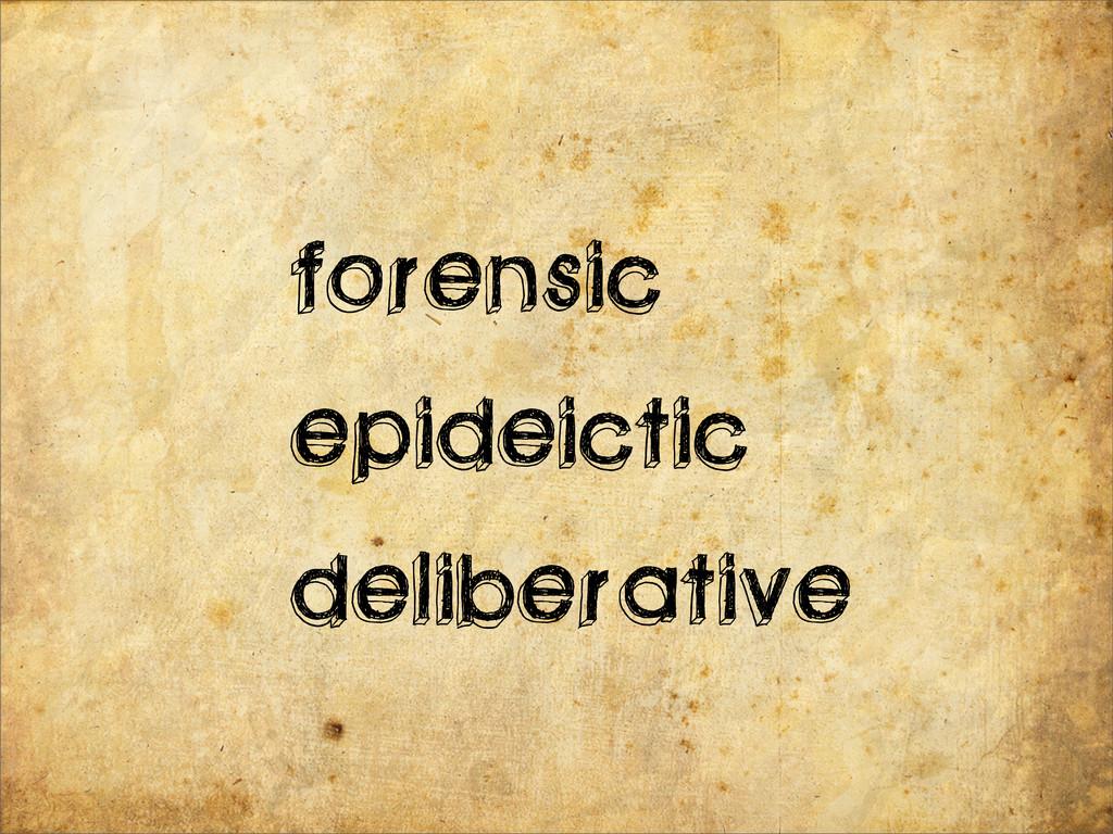 forensic epideictic deliberative
