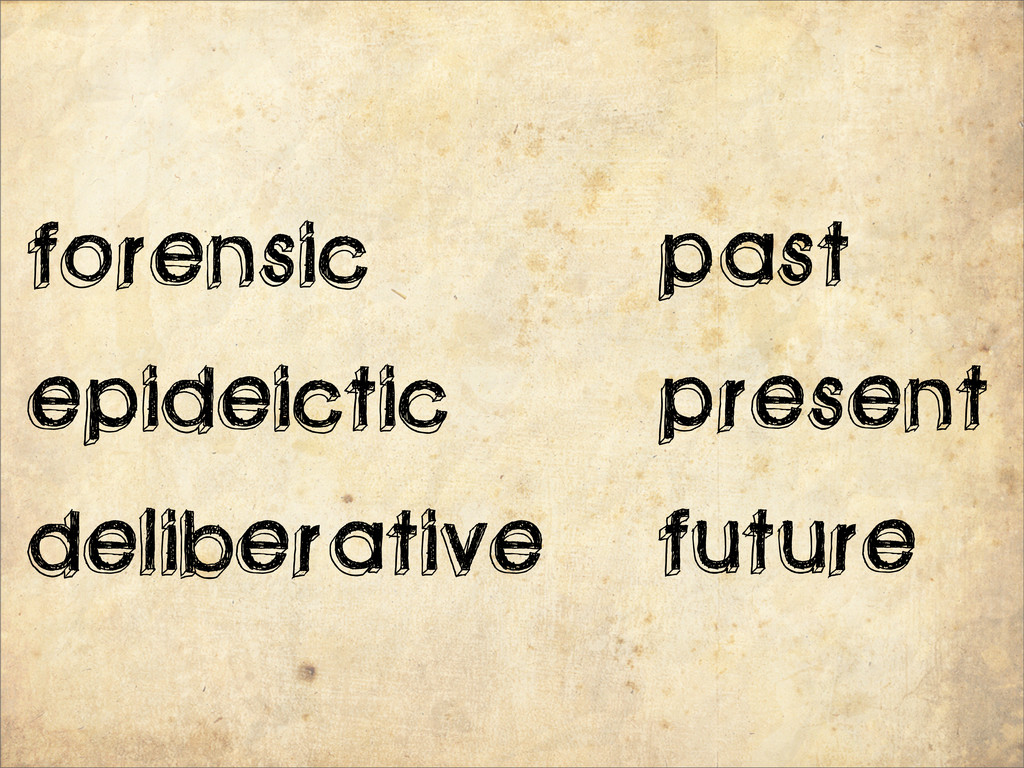 past present future forensic epideictic deliber...