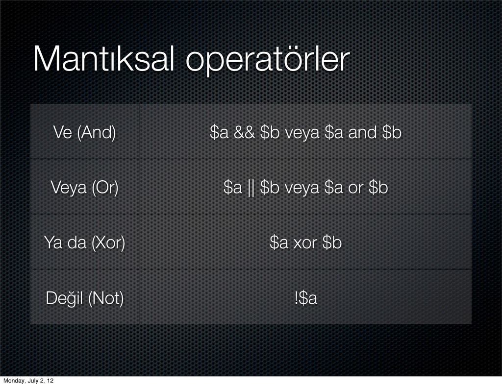 Mantıksal operatörler Ve (And) $a && $b veya $a...
