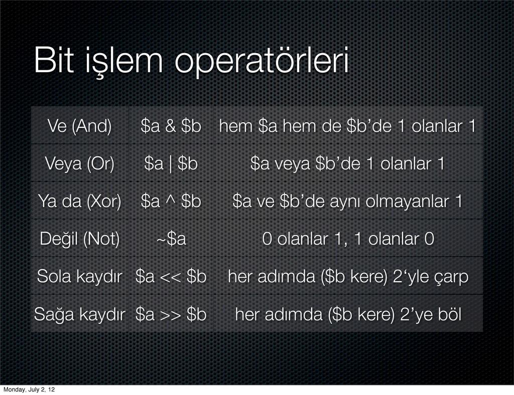 Bit işlem operatörleri Ve (And) $a & $b hem $a ...