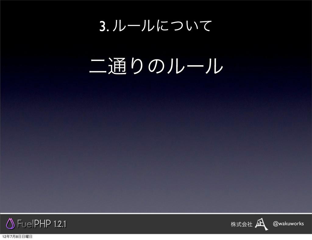 3. ϧʔϧʹ͍ͭͯ ೋ௨Γͷϧʔϧ 1.2.1 @wakuworks גࣜձࣾ 127݄8...