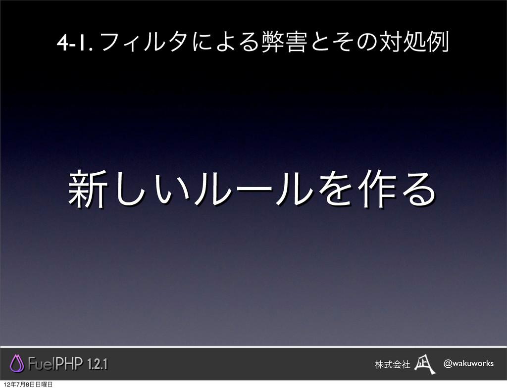 ৽͍͠ϧʔϧΛ࡞Δ 1.2.1 @wakuworks גࣜձࣾ 4-1. ϑΟϧλʹΑΔฐͱ...