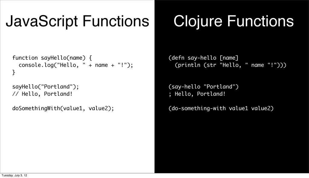JavaScript Functions Clojure Functions function...