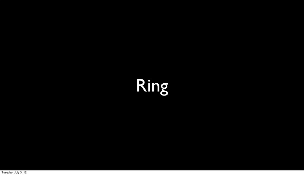 Ring Tuesday, July 3, 12