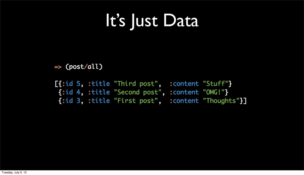 It's Just Data Tuesday, July 3, 12