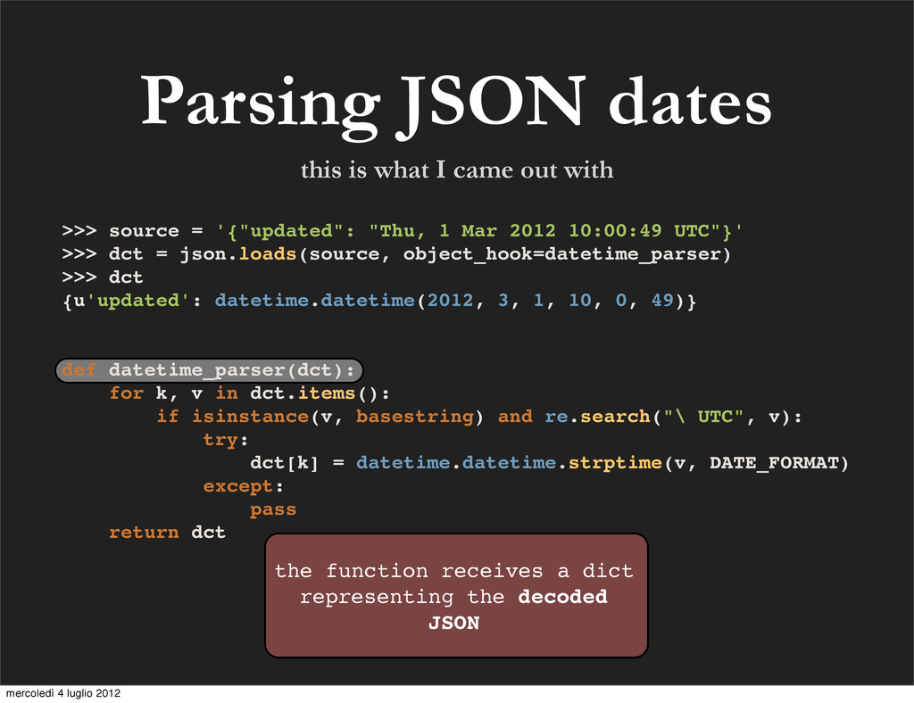 Parsing JSON dates the function receives a dict...