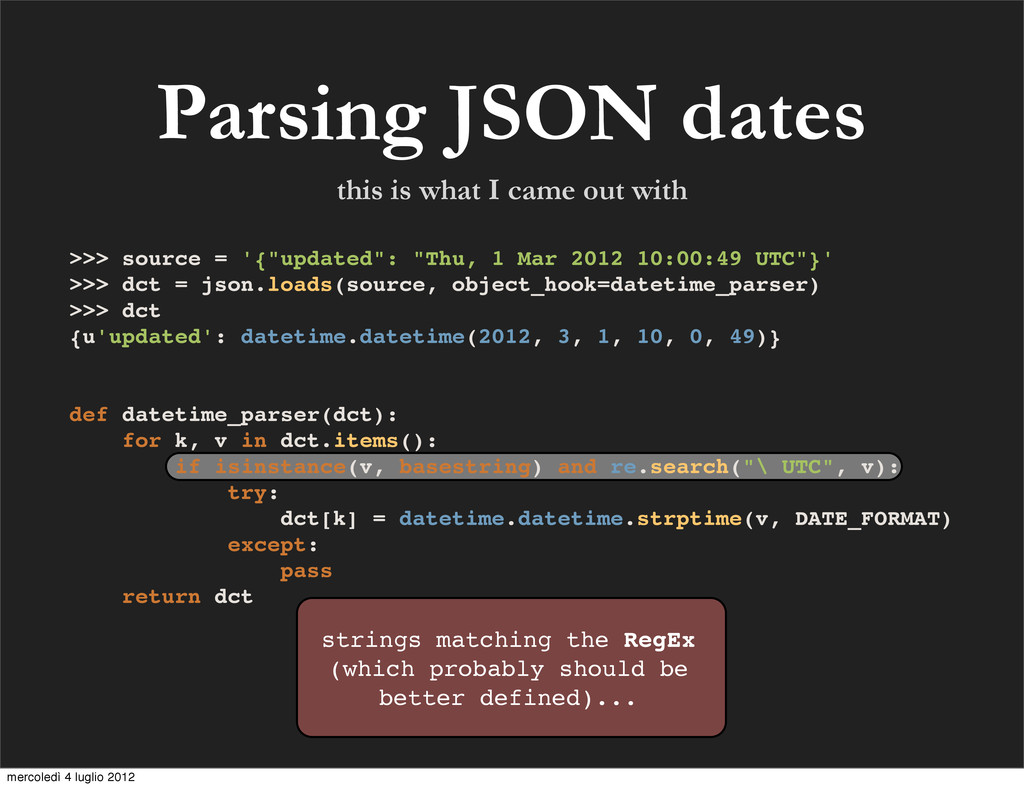 Parsing JSON dates strings matching the RegEx (...